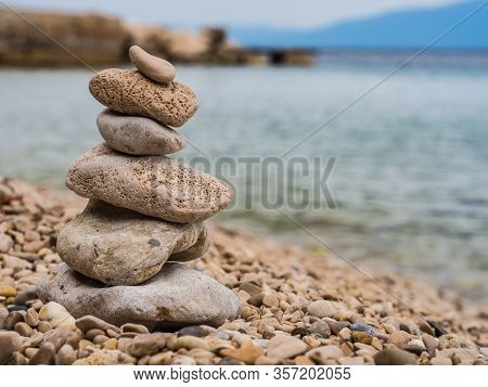 Zen Stones On Beach, Pile Of Stones By The Sea