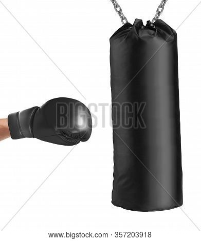 Boxing Glove Punches Punching Bag Isolated On White Background
