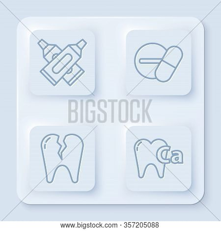 Set Line Crossed Tube Of Toothpaste, Medicine Pill Or Tablet, Broken Tooth And Calcium For Tooth. Wh