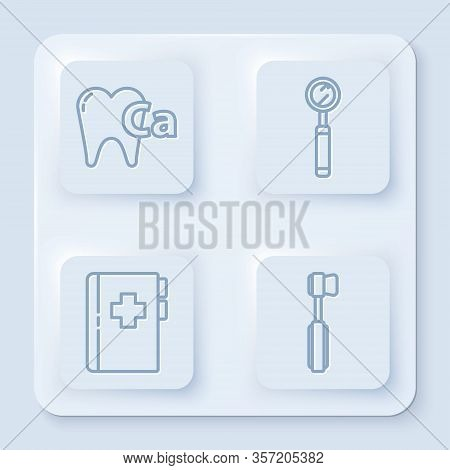 Set Line Calcium For Tooth, Dental Inspection Mirror, Clipboard With Dental Card And Toothbrush. Whi