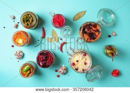 Probiotics Food Background. Korean Carrot, Kimchi, Beetroot, Sauerkraut, Pickled Cucumbers In Glass