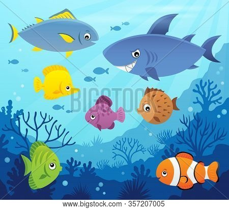 Stylized Fishes Topic Image 7 - Eps10 Vector Picture Illustration.