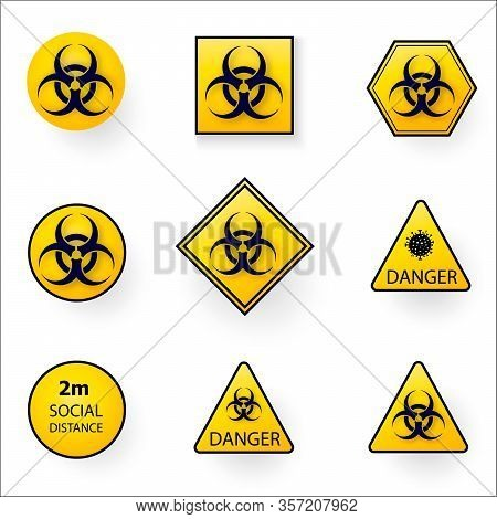 Set Of Warning Stop Signs With Virus Inside, Stop Symbol With Coronavirus, Prohibition Sign With Cov