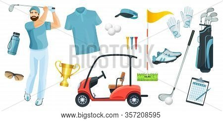 Golf Equipment Set Logo Icons Sports Gear For Game