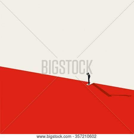 Financial Crisis, Recession Or Depression Vector Concept. Man Standing Above Abyss. Job Loss Or Mark