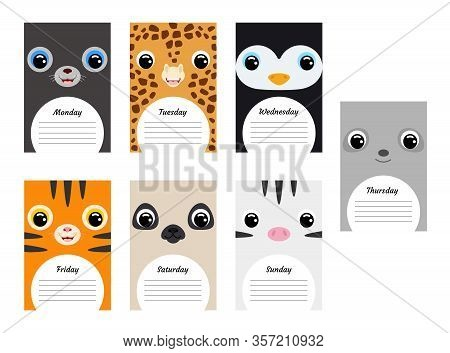 Cute Animal Weekly Planner Background With Rabbit, Fox, Koala, Turkey, Hippo, Raven, Pig. Funny Week