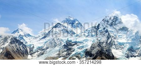 Himalaya, Panoramic View Of Himalayas Mountain, Mount Everest With Beautiful Sky And Khumbu Glacier