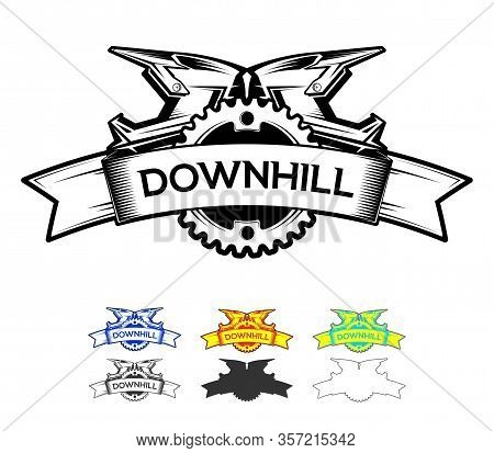Downhill Motocros Label Design. Logo Design With Ribbon Chain Ring And Full Face Helmets. Downhill,
