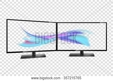 Two Desktop Monitors Full Hd Aspect Ratio 16 9. Multiple Screen. Multiple Wallpaper On Transparent S