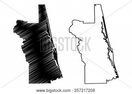 St. Johns County, Florida (u.s. County, United States Of America, Usa, U.s., Us) Map Vector Illustra