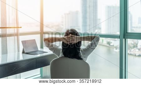 Work From Home Healthy Lifestyle With Asian Business Woman Relaxing Take It Easy Resting In Comfort