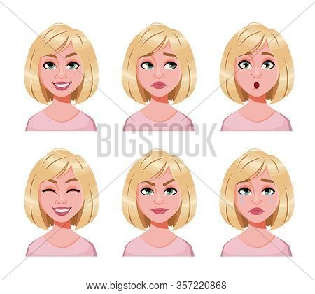 Face Expressions Of Cute Blonde Woman. Different Female Emotions Set. Beautiful Lady Cartoon Charact