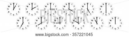 Set Of Twelve Round Black Clock Faces Isolated On White Background Showing Different Time From One T