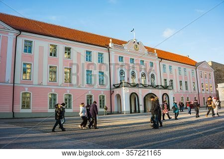 Tallinn, Estonia-01.15.20: The Building Of The Estonian Parliament On A Clear Sunny Day. The Only Pa