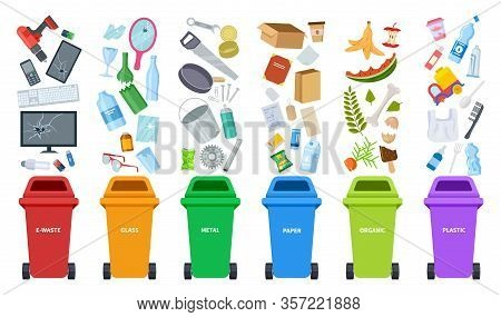 Waste Bins. Flat Recycling Containers, Bin Sorting Trashes. Recyclable Glass Paper Plastic. Types Ba