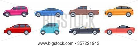 Flat Cars. View Side Automobiles Model. Contemporary Suv And Hatchback, Pickup And Sedan. Isolated V