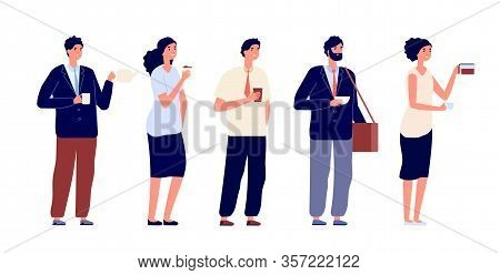 Office Coffee Break. Business Persons, Meeting With Drinks. Businessman, Team Having Lunch. Isolated
