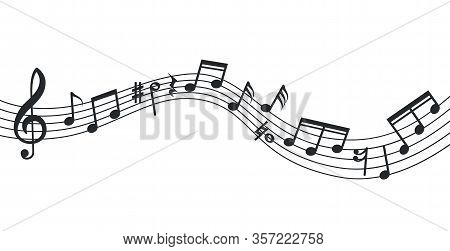 Music Note Wave. Notes Background, Musical Poster. Isolated Abstract Stave, Treble Clef And Sound Ic