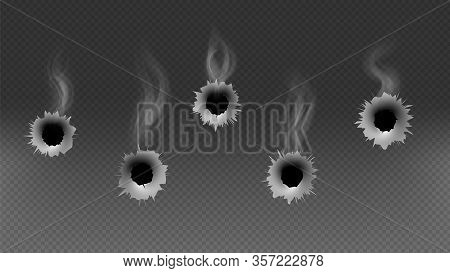 Bullet Holes. Shoot Gun, Smoke Effect Or Criminal Illustration. Isolated On Transparent Background M