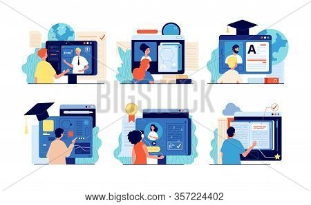 Distance School. Internet Education, Online Training And Course. Computer Presentation, University V