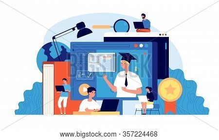 Students Webinar. Computer School, Digital Seminar. People Group Online Education. Professional Lear