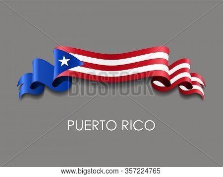 Puerto Rican Flag Wavy Ribbon Background. Vector Illustration.