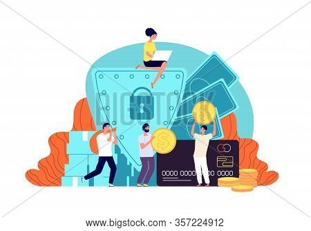 Money Protection. Business Insurance, Reliable And Privacy Budget Safety. People Protecting Bank Dep