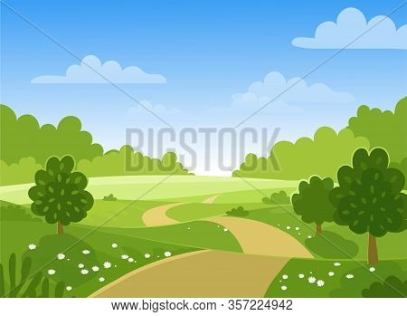 Spring Trees On The Farm. Green Hills And Meadows, Blue Sky With Clouds, Flowers And Trees. Card Wit