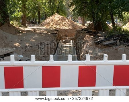 Trench With Pipes And Concrete Blocks For Insulation - Repairing Or Installing Pipeline Sewage Syste