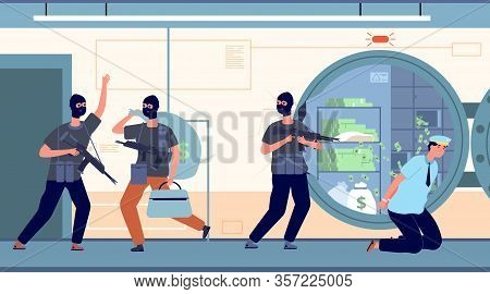 Bank Robbery. Banking Robbers With Money. Cartoon Thieves, Finance Crime. Protection Or Security Fin