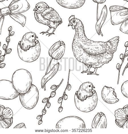 Chicken Pattern. Hand Drawn Art Bird. Spring Easter Background. Graphic Eggs, Tulips And Rooster, Pr