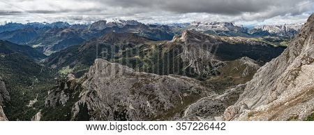 Panoramic View Of A Mountain Range In The Sexten Dolomites. Visible Peaks Of Rautkofel And Schwabena