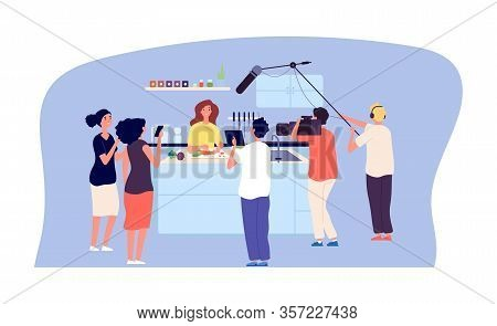 Culinary Workshop. Cooking Tv Show, Live Streaming. Chef Blogger In Kitchen, Fans And Movie Makers T