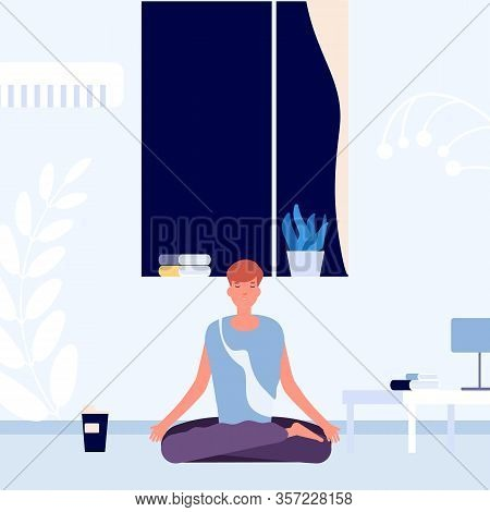 Meditation Before Going To Bed. Evening Rest, Brain Reload. Man Sits In Lotus Position With His Eyes