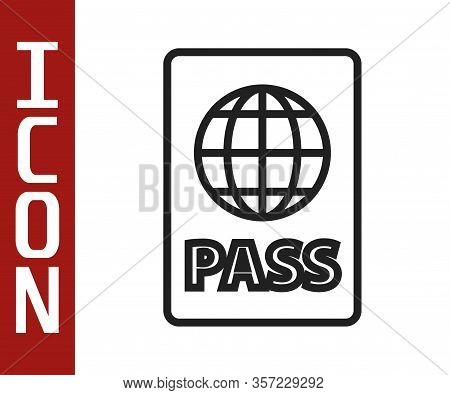 Black Line Passport With Biometric Data Icon Isolated On White Background. Identification Document.