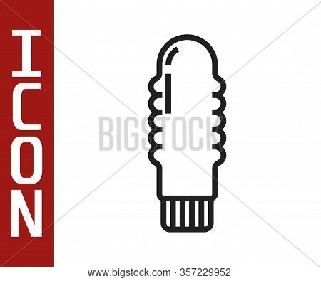 Black Line Dildo Vibrator For Sex Games Icon Isolated On White Background. Sex Toy For Adult. Vagina