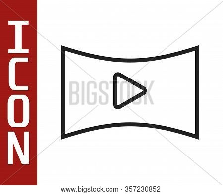 Black Line Online Play Video Icon Isolated On White Background. Film Strip With Play Sign. Vector Il