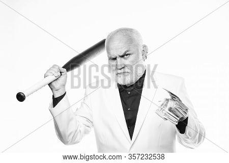 Brutal Business Life. Racket And Raiding. Kingpin Concept. Black Cash Money. Senior Man Hold Cash Mo