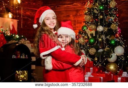 Magic Time. Children Join Christmas Carnival Party. Waiting For Santa Claus. Be Jolly And Make Good