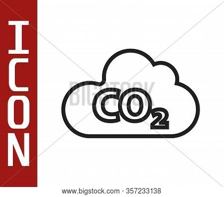 Black Line Co2 Emissions In Cloud Icon Isolated On White Background. Carbon Dioxide Formula, Smog Po