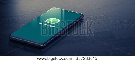 Kyiv, Ukraine-january, 2020: Whatsapp On Smart Phone Screen. Whatsapp - Most Popular Social Media To