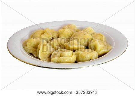 Dumplings On A White Plate Isolated On White Background. Boiled Dumplings. Meat Dumplings.