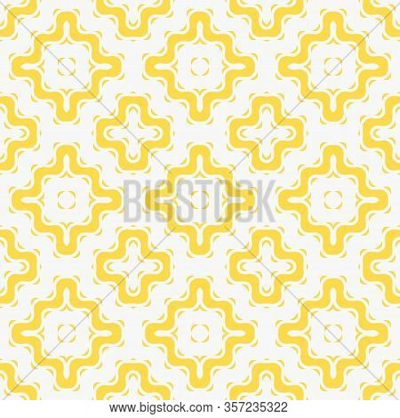 Vector Geometric Seamless Pattern With Wavy Shapes, Grid, Net, Mesh, Crosses. Simple Abstract Yellow