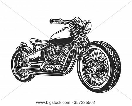 Vintage Motorcycle Concept In Black And White Colors Isolated Vector Illustration
