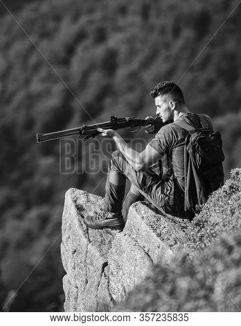 Focused On Target. Hunter Hold Rifle. Hunter Spend Leisure Hunting. Man Brutal Gamekeeper Nature Lan