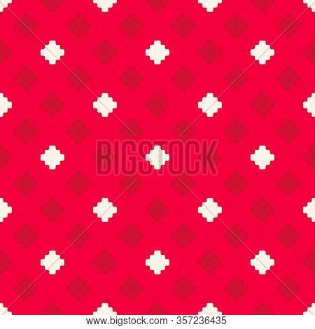 Vector Geometric Texture With Small Flower Shapes, Squares, Crosses. Abstract Minimal Seamless Patte