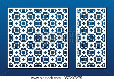 Laser Cut Panel Set. Vector Template With Geometric Pattern, Floral Ornament, Grid, Mesh, Lattice. D