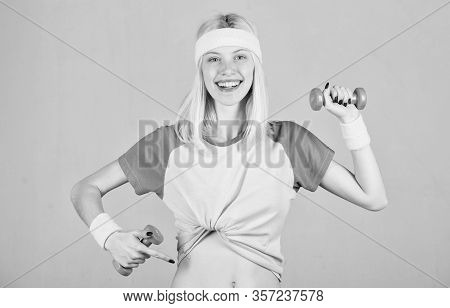 Find Personal Trainer. Workout Sport And Dieting. Woman Fitness Coach Exercising With Dumbbell. Easy