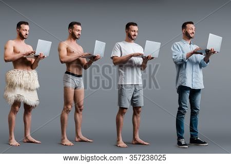 Collage Of Muscular Caveman, Man In Boxer Shorts And Businessman Using Laptops On Grey, Evolution Co