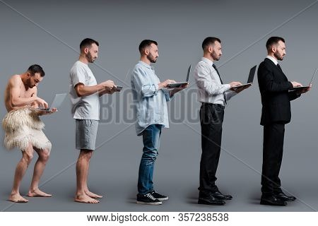 Collage Of Caveman, Man And Businessman Using Laptop On Grey, Evolution Concept